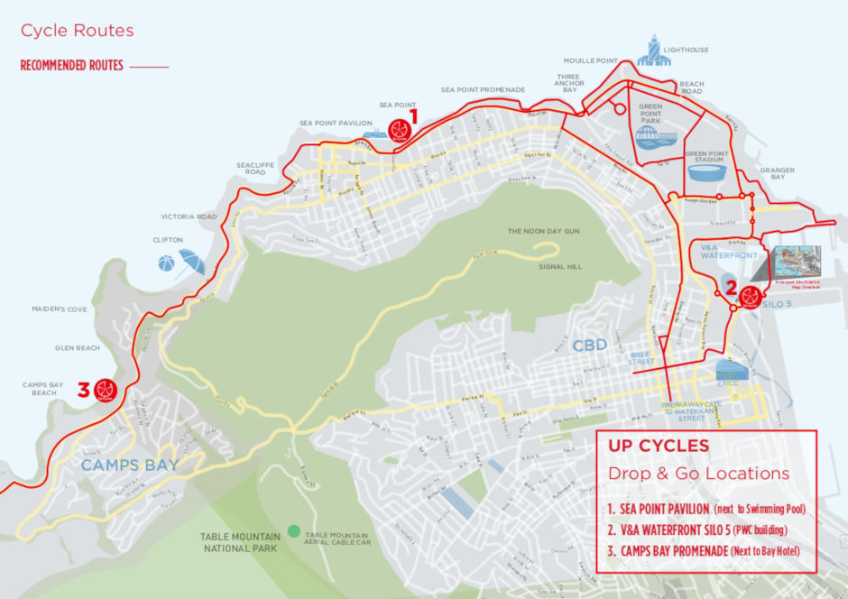 up cycles, stations, station map, cape town bike hire, camps bay, silo 5, sea point, cape town